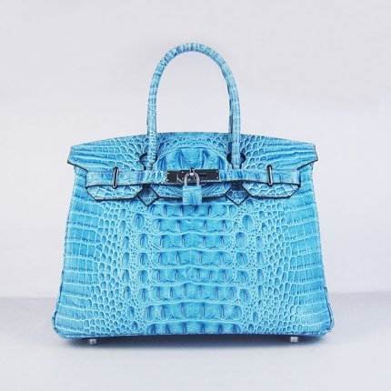 Hermes Handbags Birkin 30 CM Light Blue Crocodile Scalp Bag
