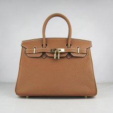 Hermes Handbags Birkin 30 CM Brown Lichee Pattern Bag