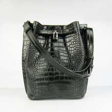 Hermes Handbags Picotin Herpicot Black crocodile Leather Silver Hardware Bag