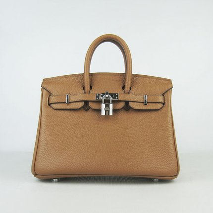 Hermes Handbags Birkin 25cm Brown Lichee Pattern Bag