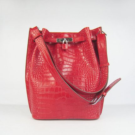 Hermes Handbags Picotin Herpicot Red crocodile Leather Silver Hardware Bag