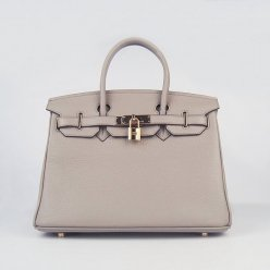 Hermes Handbags Birkin 30 CM Gray Lichee Pattern Bag