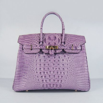 Hermes Handbags Birkin 35 CM Purple Crocodile Scalp Bag