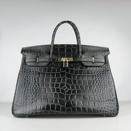 Hermes Handbags Birkin 40CM H6099 Black Crocodile Stripe Leather Gold Hardware Bag