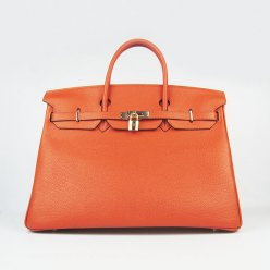 Hermes Handbags Birkin 40CM H6099 Orange Cowhide Leather Gold Hardware Bag