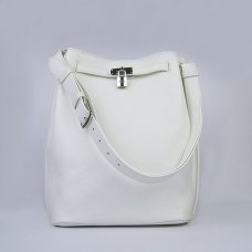Hermes Handbags Picotin Herpicot 24cm White Cowskin Leather Silver Hardware Bag