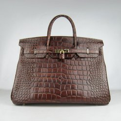 Hermes Handbags Birkin 40CM H6099 Dark Brown Crocodile Stripe Leather Gold Hardware Bag