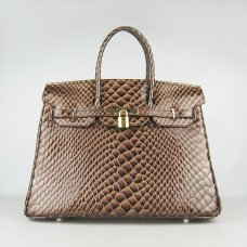 Hermes Handbags Birkin 35CM H6089 Dark Brown Fish Stripe Leather Gold Hardware Bag