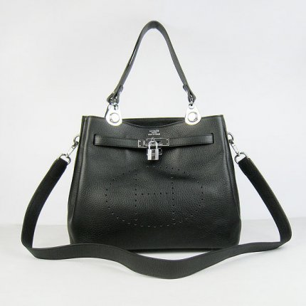 Hermes Handbags Picotin Herpicot Black Cowskin Leather Silver Hardware Bag
