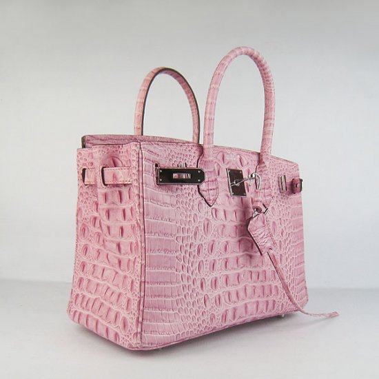 Hermes Handbags Birkin 30 CM Pink Crocodile Scalp Bag - Click Image to Close