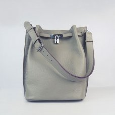 Hermes Handbags Picotin Herpicot Khaki Cowskin Leather Silver Hardware Bag
