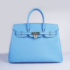 Hermes Handbags Birkin 35 CM Light Blue Plain Veins Bag
