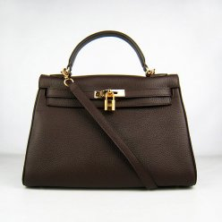 Hermes Handbags Kelly 32 CM Dark Brown Lichee Pattern Leather Gold Hardware Bag