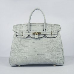 Hermes Handbags Birkin 35 CM Silver Gray Crocodile Bag