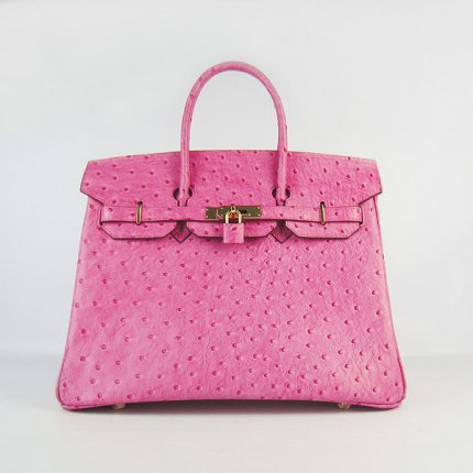 Hermes Handbags Birkin 35 CM Rose Red Ostrich Stripe Bag