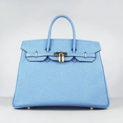 Hermes Handbags Birkin 35CM H6089 Light Blue Pearl Stripe Leather Gold Hardware Bag