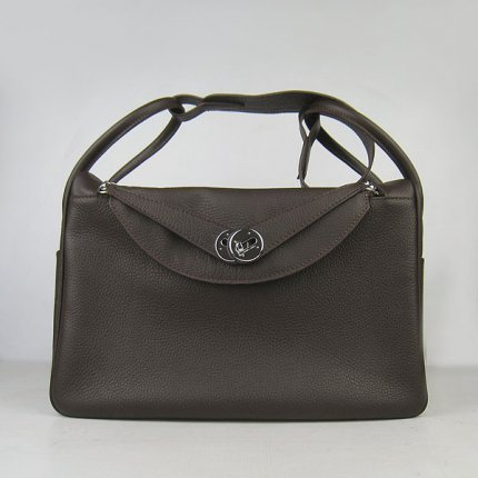 Hermes Handbags Lindy Dark Brown Cowskin Leather Silver Hardware Bag