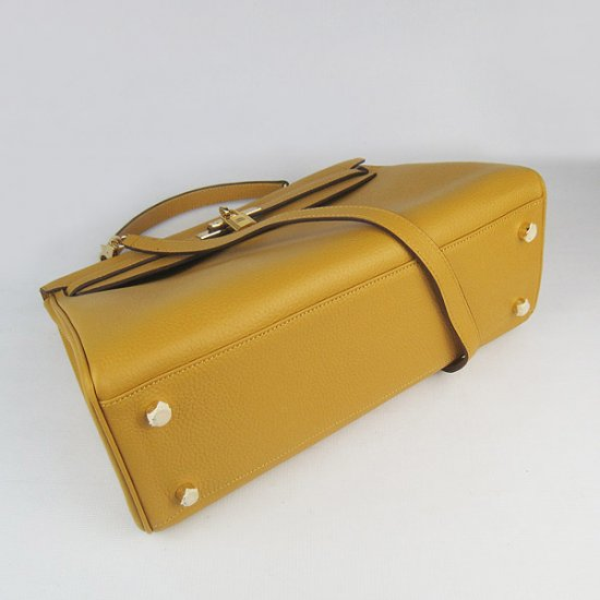 Hermes Handbags Kelly 35 CM Yellow Cowskin Leather Gold Hardware Bag - Click Image to Close