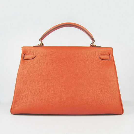Hermes Handbags Kelly 35 CM Orange Cowskin Leather Gold Hardware Bag - Click Image to Close