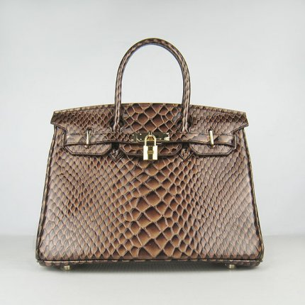 Hermes Handbags Birkin 30 CM Dark Brown Fish Stripe Bag