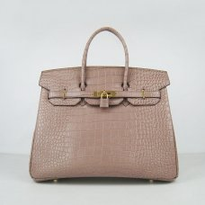 Hermes Handbags Birkin 35 CM Light Red Brown Crocodile Bag
