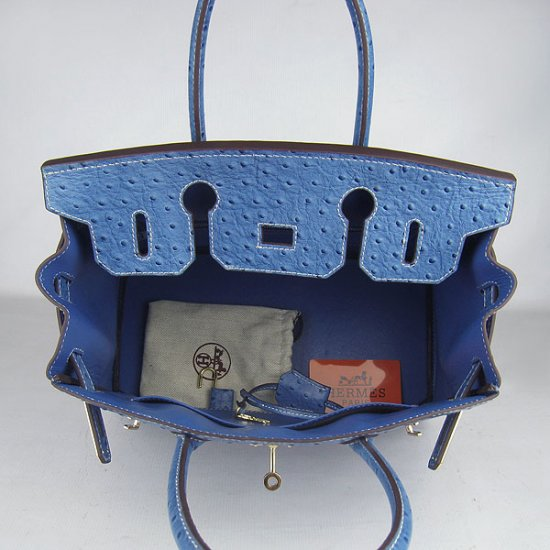 Hermes Handbags Birkin 30 CM Medium Blue Ostrich Stripe Bag - Click Image to Close