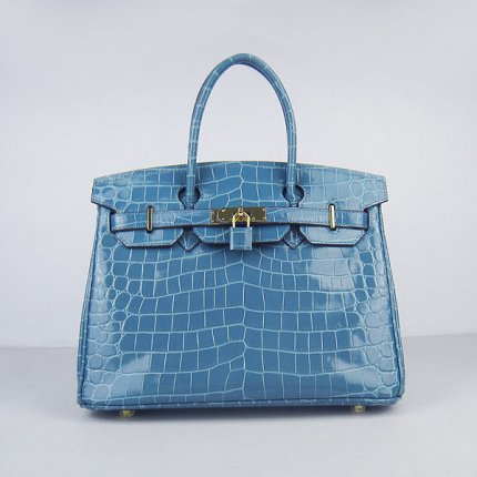 Hermes Handbags Birkin 30 CM Medium Blue New Crocodile Veins Bag