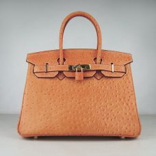 Hermes Handbags Birkin 30 CM Orange Ostrich Stripe Bag