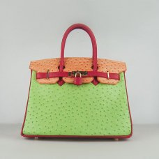Hermes Handbags Birkin 30 CM Red Orange Green Ostrich Stripe Bag