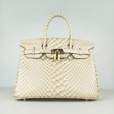 Hermes Handbags Birkin 30 CM Beige Fish Stripe Bag