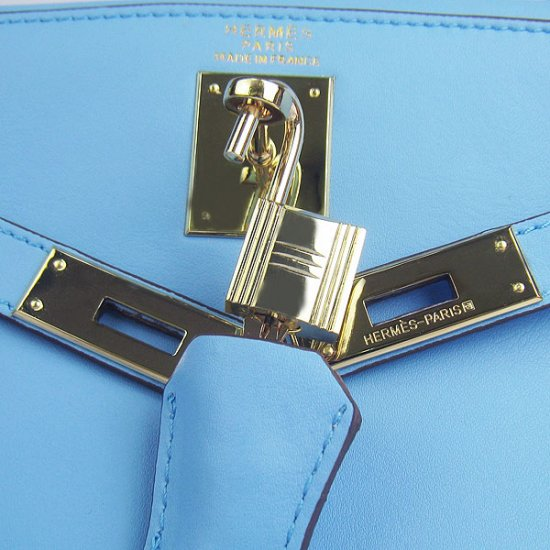 Hermes Handbags Kelly 32 CM Blue Smooth Premium Leather Gold Hardware Bag - Click Image to Close