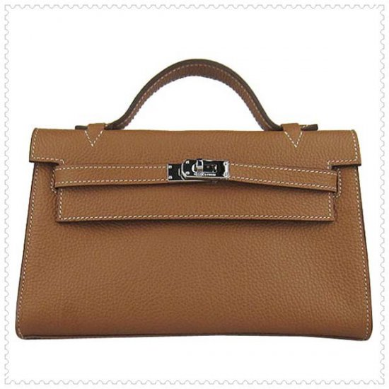Hermes Handbags Kelly 22CM Light Brown Lichee Stripe Leather Silver Hardware Bag - Click Image to Close