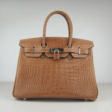 Hermes Handbags Birkin 30 CM Brown Crocodile Bag