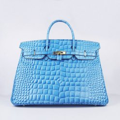 Hermes Handbags Birkin 40CM H6099 Light Blue Crocodile Stripe Leather Gold Hardware Bag
