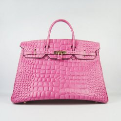 Hermes Handbags Birkin 40CM H6099 Peach Crocodile Stripe Leather Gold Hardware Bag