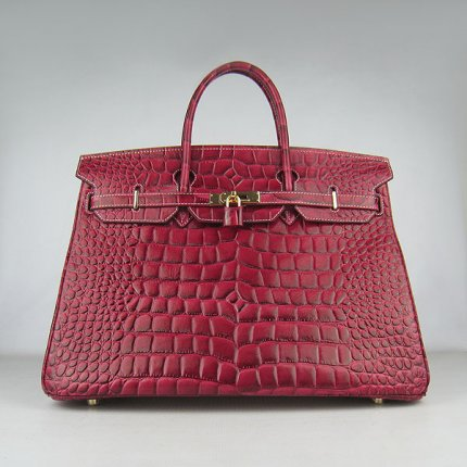 Hermes Handbags Birkin 40CM H6099 Red Crocodile Stripe Leather Gold Hardware Bag