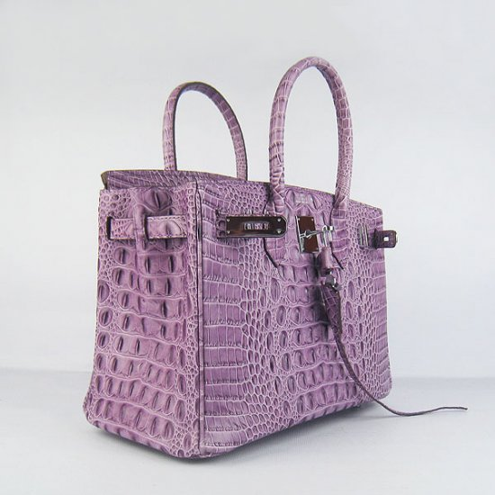Hermes Handbags Birkin 30 CM Purple Crocodile Scalp Bag - Click Image to Close