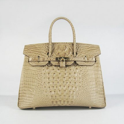 Hermes Handbags Birkin 35 CM Apricot Crocodile Scalp Bag