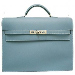 Hermes Kelly Depeches Briefcase Light Blue Calfskin Leather Silver Hardware