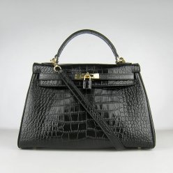 Hermes Handbags Kelly 32 CM Black Crocodile Leather Gold Hardware Bag