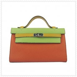 Hermes Handbags Kelly 22CM Orange-Green Lichee Stripe Leather Silver Hardware Bag