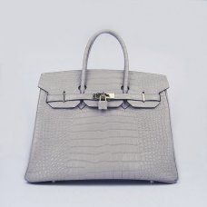 Hermes Handbags Birkin 35 CM Gray Crocodile Bag