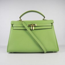 Hermes Handbags Kelly 35 CM Light Green Cowskin Leather Gold Hardware Bag