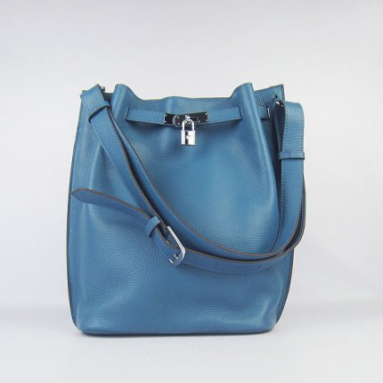 Hermes Handbags Picotin Herpicot 24cm Blue Cowskin Leather Silver Hardware Bag
