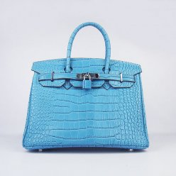 Hermes Handbags Birkin 30 CM Blue Crocodile Bag