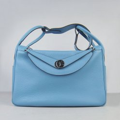 Hermes Handbags Lindy Light blue Cowskin Leather Silver Hardware Bag