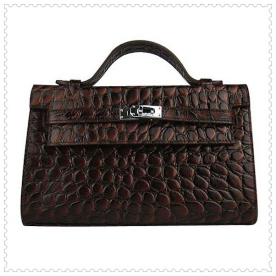 Hermes Handbags Kelly 22CM Dark Brown Crocodile Leather Silver Hardware Bag - Click Image to Close