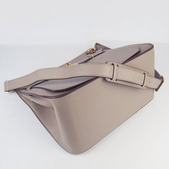 Hermes Handbags Jypsiere Grey Cowskin Leather Gold Hardware Bag - Click Image to Close