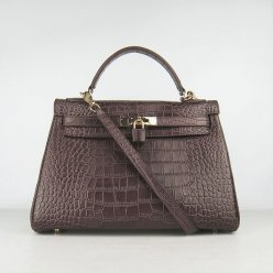 Hermes Handbags Kelly 32 CM Dark Brown Crocodile Leather Gold Hardware Bag