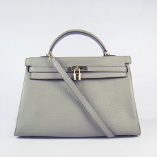 Hermes Handbags Kelly 35 CM Grey Cowskin Leather Gold Hardware Bag